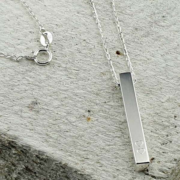 Personalised Silver Bar Pendant Necklace with Two 2 Hearts. Handmade Sterling Silver Bar Pendant + Gift Wrap For Valentine, Bride, Birthday & Special Occasions.