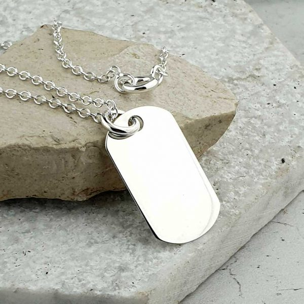 Personalised Dog Tag Silver Pendant Necklace For Men on Silver Chain