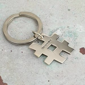 Hashtag Keyring In Personalised Sterling Silver. Hallmarked & Engraved Silver Hashtag Keyring Handmade To Order by our Silversmithing team. Gift Wrap Available.