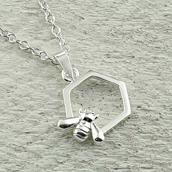 Honey Bee Hexagon Pendant Handmade For Valentines Day, Bride, Bridesmaid, Mother & Mother Of The Bride Bee Pendant Necklace. Bee Necklace with Gift Wrapping.