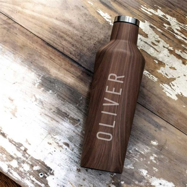 Personalised Wood Design Water Bottle For Him - Engraved Corkcircle Bottle For Hot & Cold Drinks. Name Engraved Water Bottle with personalised gift wrap.