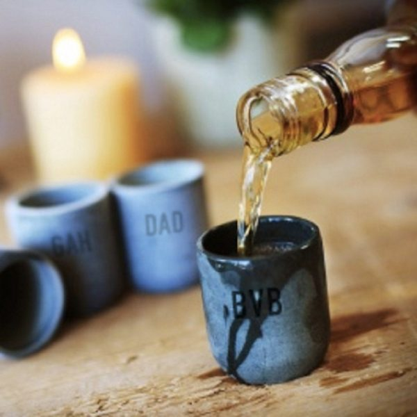 Personalised Soapstone Shot Glass For Him engraved with 3 initials - Dad, Fathers Day, Stag Party, Best Man, Usher & Groomsmen + gift wrapping!