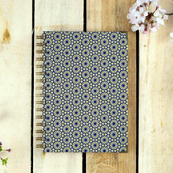 Notebook, Diary, Sketchbook, Art Journal - Washi Blue Gold Geometric Eco Stationary. Cartridge, Bristol Illustration & Watercolour Paper A5 Art Supplies.