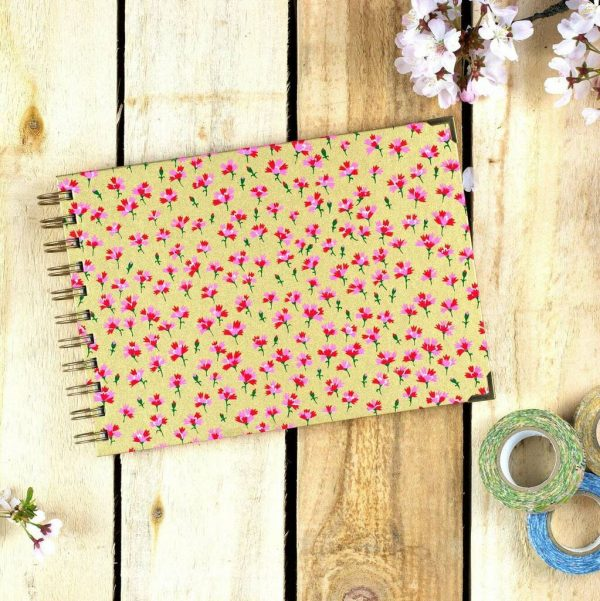 Notebook, Diary, Sketchbook, Art Journal - Eco Japanese Chiyogami Washi Stationary Handmade In Gold & Floral. Cartridge, Bristol & Watercolour A5 Art Supplies