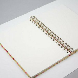 Notebook, Diary, Sketchbook, Water Colour Paper Journal - Eco Japanese Chiyogami Washi Stationary Handmade In Gold & Floral. Cartridge, Bristol & Watercolour.