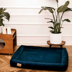 Large Dog Bed - Dog Bed in Blue Velvet. Stylish Big Dog Bed available in 3 Dog Bed sizes.