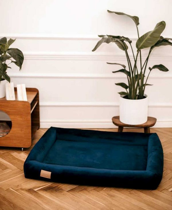 Large Dog Bed - Personalised Dog Bed in Blue Velvet customised with the name of your pet. Stylish Big Dog Bed available in 3 Dog Bed sizes.