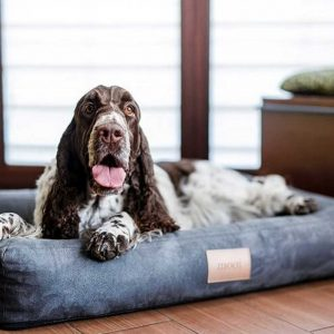 Large Dog Bed - Personalised Hard-Wearing & Durable Dog Bed in Grey Codrua engraved with the name of your dog. Stylish Bedding available in 3 Dog Bed sizes.