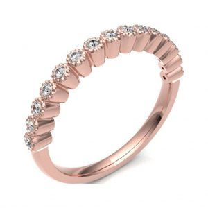 Vintage Style Eternity Ring Handmade In Diamond Set 18ct Rose Gold. Eternity Ring with high quality GH S/I classification diamonds, total approx 0.13 carats.