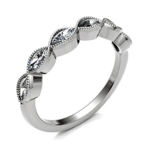Vintage Style Diamond Eternity Ring Handmade with Marquise Cut Diamond Set in 18ct White Gold. Eternity Ring with high quality H/I I1 classification diamonds