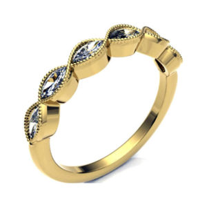 Vintage Style Yellow Gold Diamond Eternity Ring Handmade with Marquise Cut Diamond Set in 18ct Gold. High quality H/I I1 diamonds Eternity Ring.