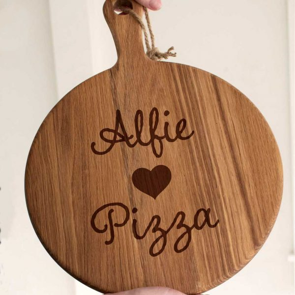 "Personalised Love Pizza Kids Pizza Board for kids & the Big Kid In Your Life. 12"" Love Pizza Oak Board with Handle & Rope hanger. Eating Pizza Just Got Better!"
