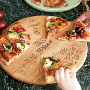 Personalised Kids Pizza Board with 8 Fun Actions. 12 inch Oak Kids Pizza Board Game with Handle & Jute Rope hanger. Eating Pizza Just Got Better!