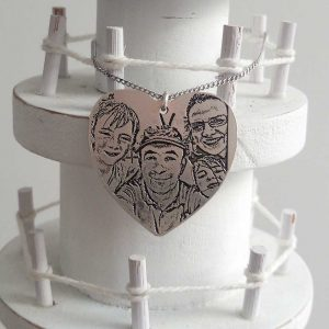 Selfie Photo Pendant - Heart Shape Engraved Family Photo Silver Pendant Necklace on 18