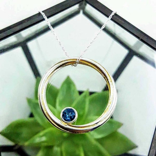 Create Your Own Pendant - Twist Circle Handmade Silver Pendant With Topaz in Satin or Polished, Sterling Silver, Yellow or Rose Gold Guilt with Gift Wrapping.