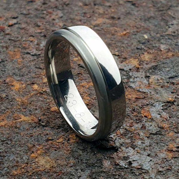 Engraved Men's Titanium Wedding Ring with Combination High Polish & Satin Finish. Made To Order Titanium Wedding Ring with Personalised Engraving.