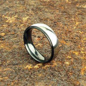 Men's Zirconium Wedding Ring With Personalised Engraving in High Polish or Satin Finish. Made To Order Personalised Zirconium Wedding Ring.