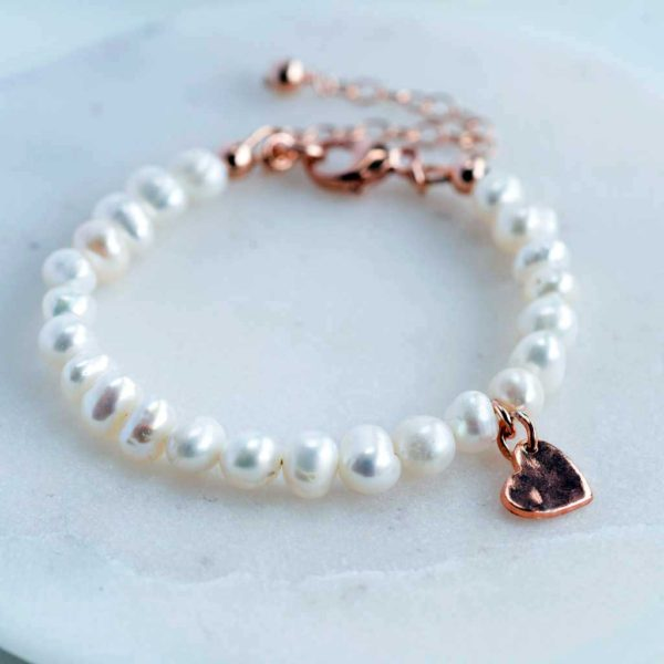 New Baby Girl Christening Pearl Bracelet With Heart Pendant in Personalised Gift Box. Handmade Freshwater Pearl Christening Baby Bracelet in Rose Gold.