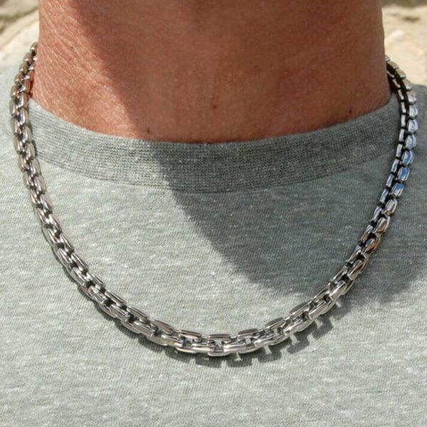 Mens Titanium Chain Necklace With Polished Square Titanium Links. Handmade to order Mens Titanium Chain Necklace by master jewellers + optional gift wrapping