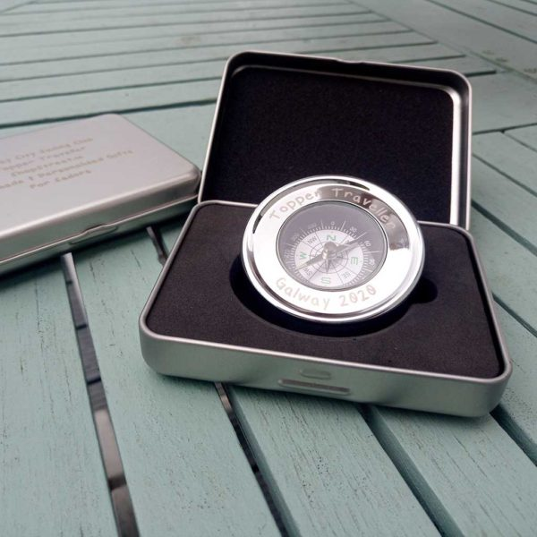 Personalised Sailing Prize Compass. Brass Desk & Pocket Compass with Silver Plating, Personalised Case & FREE Engraving. Sailing Prize Gift Engraved Compass.