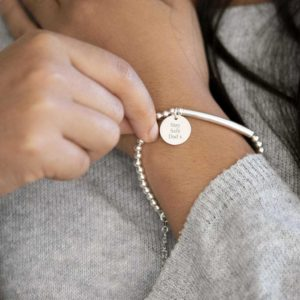 Handmade Sterling Silver Bracelet with Lobster Clasp, Circular Pendant Personalised Engraving in Gift Box. Heart Charm, Flower Charm
