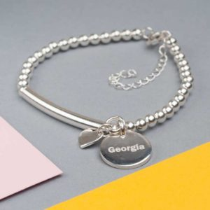 Handmade Sterling Silver Bracelet with Lobster Clasp, Circular Pendant Personalised Engraving in Gift Box with Heart Charm