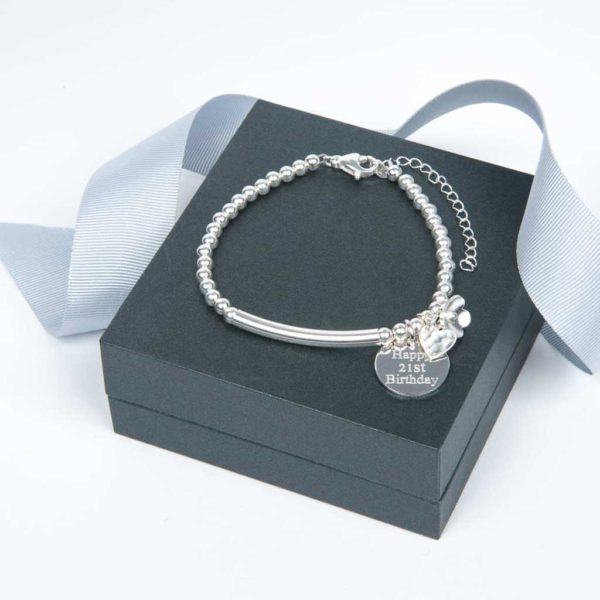 Handmade Sterling Silver Bracelet with Lobster Clasp, Circular Pendant Personalised Engraving in Gift Box with Heart Charm & Flower Charm. Gift Bag upgrade
