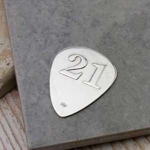 21th Birthday Guitar Pick in Sterling Silver Personalised With Engraved Message. Handmade & Hallmarked Birthday Gift For Guitar Players 21th Birthday