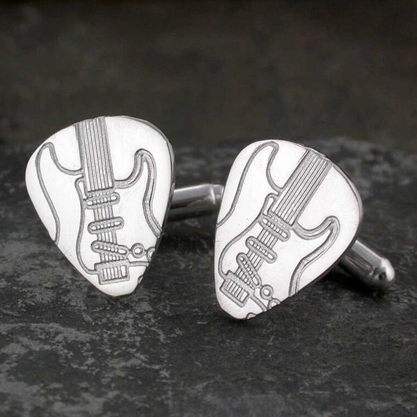 Electric Guitar Pick Silver Cufflinks For Guitar Players. Handmade & Hallmarked Sterling Silver Plectrum Pick Cufflinks for Electric Guitar Players.