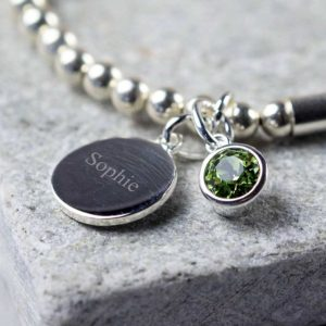 Handmade Silver Personalised Birthstone Bracelet with Personalised Engraving on Pendant in a Personalised Gift Box. Choice of Swarovski Crystal Birthstone.