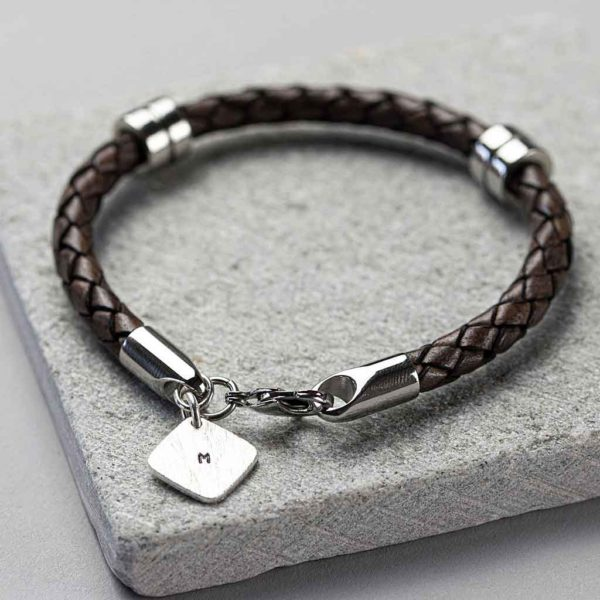 Personalised Mens Leather Wristband With Hand Stamped Square Tag, personalised gift wrapping with choice of Black Or Brown leather wristband bracelet.
