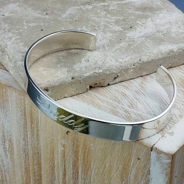 Personalised Mens Silver Bracelet Bangle Handmade in Polished Hallmarked Sterling Silver. Free personalised engraving, optional Secret Message & gift wrap