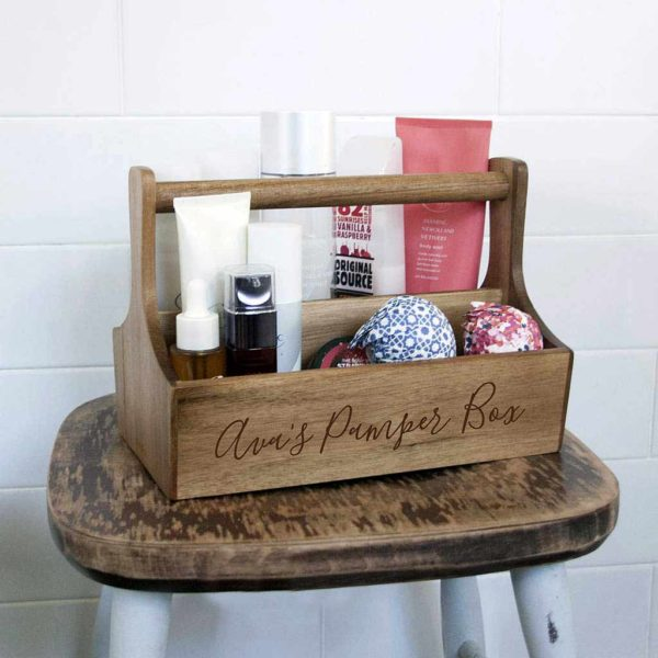 Spa Beauty Caddy Bathroom Storage with Free Personalised Engraving. Personalised Bathroom Storage Caddy Engraved with up to 25 Letters.