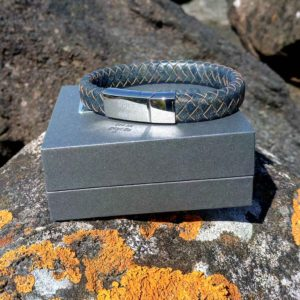 Mens Leather Personalised Wristband in Deep Blue with, Free Engraving, Choice Of Font and Personalised Gift Box.