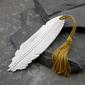 Feather Silver Bookmark - Personalised Sterling Silver Feather Bookmark with Choice Of Tassel. Handmade, hallmarked, bookmark personalised with engraved message