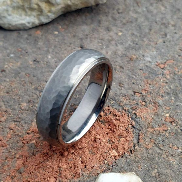 Men's Wedding Ring In Titanium with Brushed Hammered Texture. Made To Order Mens Titanium Wedding Ring with Personalised Engraving.