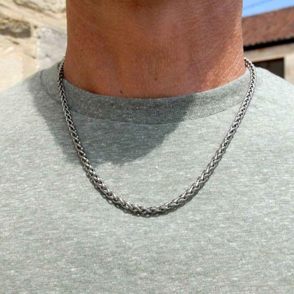 Men's Titanium Chain Square Twist Link Necklace - Satin Finish Wheat Style 4mm Twist Link Strong Chain Necklace. Mens Titanium Jewellery. Gift Wrap Option.