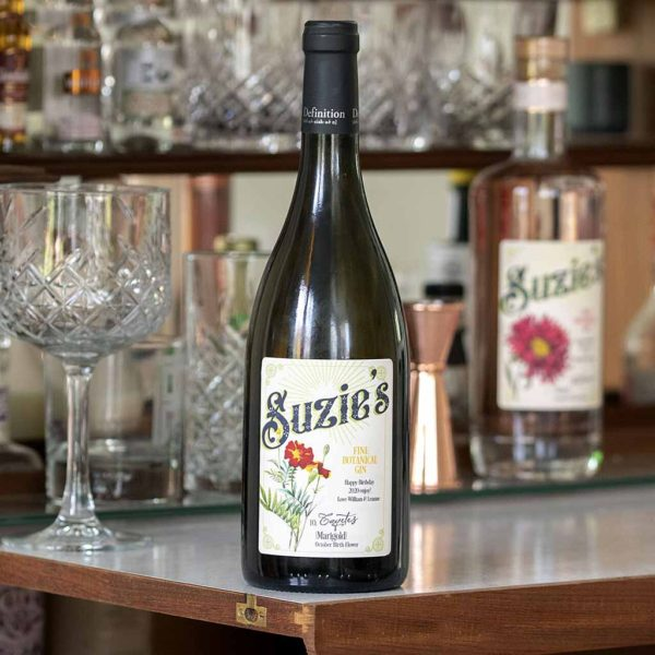 Personalised Bottle of White Wine with personalised Birth Flower label presented in a buff brown box. Personalise wine bottle label with Flower, Name & Message