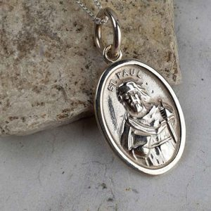 Saint Peter & Saint Paul Silver Medal Pendant on 18inch silver chain with optional gift wrapping. Faith jewellery featuring St Peter & St Paul, Ireland