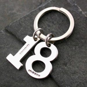 Sterling Silver Number Keyring - Handmade Hallmarked Silver Personalised Number Keyring. Personalised Birthday Gift with optional Gift Wrapping