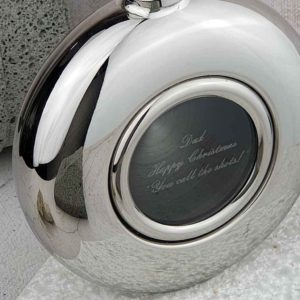 Engraved Glass Personalised Round Hip Flask & Presentation Box, Personalised with GLASS ENGRAVING. Pocket Sized Hip Flask All Events & Weddings.