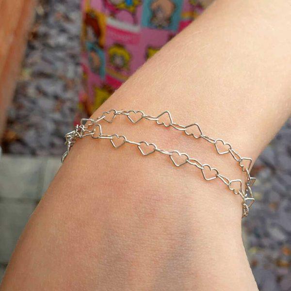 Girls Bracelet. Handmade Double Stranded Silver Heart Bracelet For Girls, Daughter, Grand Daughter, Niece, Birthday, Communion & Wedding Flower Girl