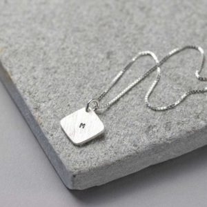 Personalised Silver Necklace with Hand Stamped Square Silver Tag and personalised Gift Box.