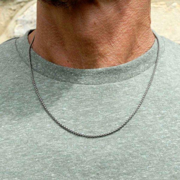 Men's Titanium Chain Fine Square Link Necklace - A Fine, Square Link Chain Necklace for men. Stunning made to order Men's Titanium Jewellery. Gift Wrap Option.