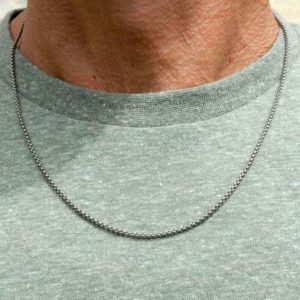 Men's Titanium Chain Fine Square Link Necklace - A Fine, Square Link Chain Necklace for men. Stunning made to order Men's Titanium Jewellery. Gift Wrap Option.