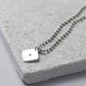 Mens Personalised Hand Stamped Silver Tag on Dog Tag Necklace