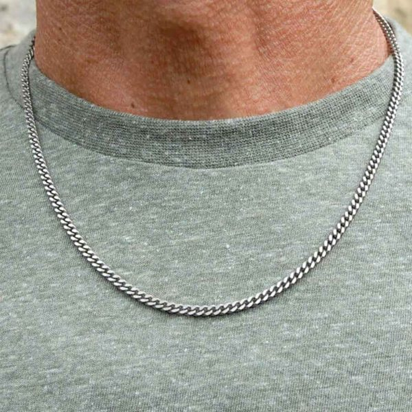 Men's Titanium Chain Necklace - A Fine, Flat Curb Strong Chain Necklace gift for men. Stunning made to order Men's Titanium Jewellery. Gift Wrapping Option.
