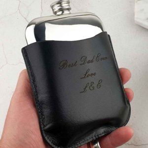 Engraved Hip Flask In Personalised Black Leather Pouch with FREE Hip Flask & Pouch Engraving. Leather Pouch Hip Flask features Capture Top & Lift-Off Lid Box