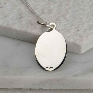 Personalised Saint Andrew Silver Medal Pendant on silver chain. Faith jewellery with St Andrew on the front & personalised engraved message on the back.