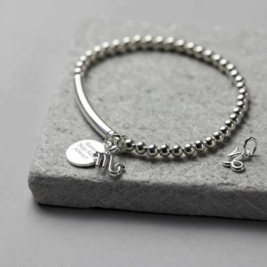 Personalised Silver Star Sign Bracelet with Zodiac Sign Charm & Engraving on Pendant in a Personalised Gift Box. Bracelet Bangle handmade to order.